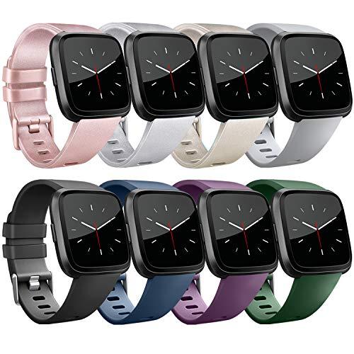 Yandu Armband kompatibel für Fitbit Versa, Klassische Weiches TPU Sports Ersatzband Uhrenarmband für Fitbit Versa Smartwatch (8-Pack 01, S)