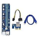 balikha VER008C PCI-E Tarjeta elevadora 6 Pines PCI Express pci-1x 16X Adaptador para Bitcoin, instalación Sencilla