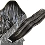 LaaVoo Tape in Extensions Human Hair Tape Ombre Hair Extensions 20 Pieces Off Black Balayage Silver Seamless Skin Weft Tape in Real Human Hair For Women Straight 50g 18 Inch