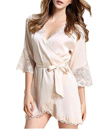 CYSTYLE Damen Satin Kimono Nachthemd Nachtwäsche Pyjama Set Morgenmante Bademäntel Schlafanzüge mit Tiefer V-Ausschnitt und Blumenspitze (EU M=Asia L, Champagner)