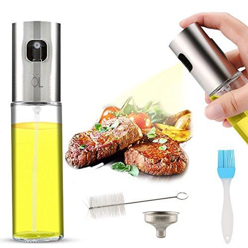 AJOXEL Dispensador de pulverizador de Aceite, Oil Sprayer 100 ml Vinagre/Aceite de Oliva de Acero Inoxidable Botella de Vidrio para Herramienta de Cocina cocinar,Ensalada, Hornear Pan, Parrilla