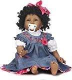 Reborn Baby Doll African American 22 inch Vinyl Silicone Reborn Dolls Black Skin Baby Girl with Curly Hair