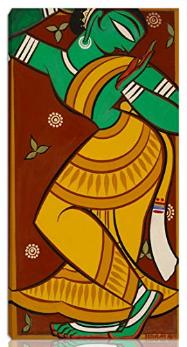 Berkin Arts Jamini Roy Stretched Giclee Print On Canvas-Famous Paintings Fine Art Poster-Reproduction Wall Decor Ready to Hang(Painting of Dancing Gopi)#NK