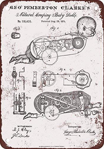 Odeletqweenry Tin Sign, griezelige kruipende baby pop patent vintage look reproductie metalen tin teken 12