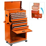 Rolling Tool Chest,Tool Chest with Wheels and Drawers,Removable 4-Wheels (2Pcs with Brake), Tool Chest,Tool Cabinet with 8 Drawers,Large Capacity Tool Box with Lock (Orange)