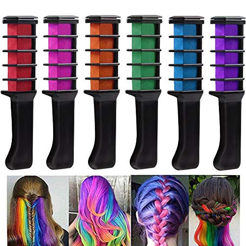 Haarkreide Kamm,MUXItrade Temporär Haarfarbe Kreide Kamm,6 Stück Mini Instant Einmalige Haare Kreide Kamm, Party und Cosplay DIY