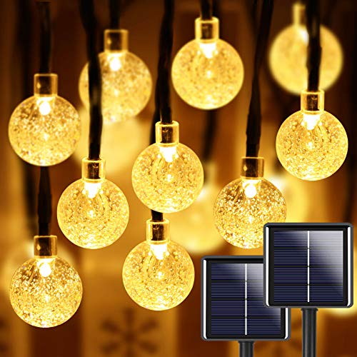 2-Pack 100 LED 32FT Crystal Globe Solar String Lights Outdoor, Waterproof Solar Lights Outdoor Decorative with 8 Lighting Modes, Solar Powered Patio Lights for Garden Yard Party (Warm White)