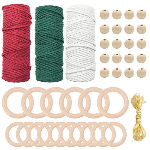 Cordón de macramé natural de 3 mm x 50 m de hilo de algodón para manualidades con 16 piezas de anillos de madera 20 piezas de cuentas de madera y cinta Kit de colgador de plantas para principiantes