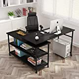 Tribesigns Modern L-Shaped Desk with Storage Shelves, 360°Rotating Desk Corner Computer Desk Study Writing Table Workstation with Open Shelves for Home Office, High Glossy Finish (Black)
