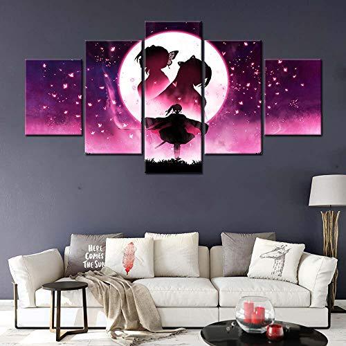 IKDBMUE Lienzo de Pared Art Imagen Obra De Arte Pintura Anime Papel para decoración del hogar de en 5 Piezas Pinturas Moderna Estirada y Enmarcado Arte Aceite