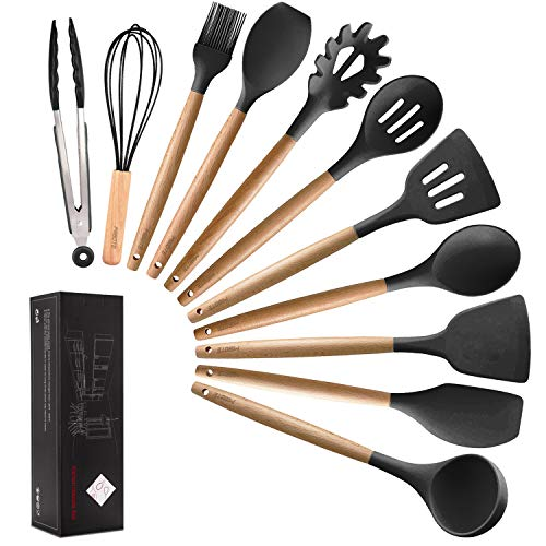 MIBOTE 11pcs Silicone Cooking Kitchen Utensils Set, Bamboo Wooden Handles Cooking Tool BPA Free Non Toxic Silicone Turner Tongs Spatula Spoon Kitchen Gadgets Utensil Set for Nonstick Cookware (Grey)