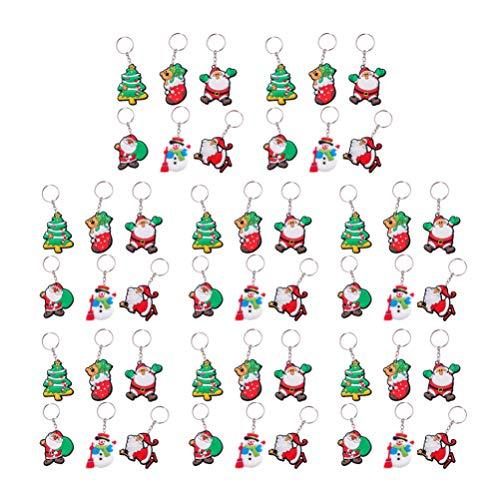 Healifty 48 Piezas llaveros de Navidad llaveros con Santa Claus muñeco de Nieve árbol de Navidad Bolso Monedero encantos Fiesta de Navidad favorece Regalos Bolsa de Relleno