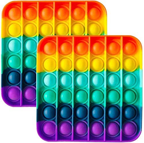 Zuvo Push-Pop-Bubble, 2 Stück, sensorisches Fidget-Spielzeug, Autismus, spezielle Bedürfnisse, Stressabbau, Silikon, Stressabbau-Spielzeug, Regenbogenfarbe (2 Quadrate)