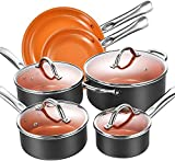 Aicook 10-Piece Cookware Set Pot and Pan Set Non-Stick Copper Induction Cookware with Professional...