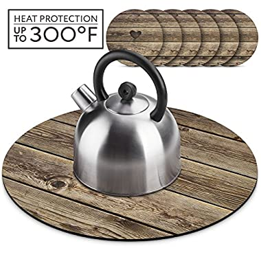 Wooden Farmhouse Teapot Trivet Set, Hot Pad for Table with 6 4 inch Cup Coasters Set, for Hot Pots Hot Kettles Dishes and Table Decoration Placemat. Wooden Rustic