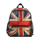 QMIN Kinder-Rucksack Vintage UK Britische Flagge, kleine Kleinkind Vorschul-Schultertasche Reise Elementar-Kindergarten Schultaschen für Mädchen Jungen Kinder