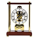 Reloj de chimenea con función de timbre por hora y esfera de números romanos Reloj mecánico en perspectiva Diseño de engranaje mecánico Reloj de escritorio retro hecho de madera Accionamiento a cuerda
