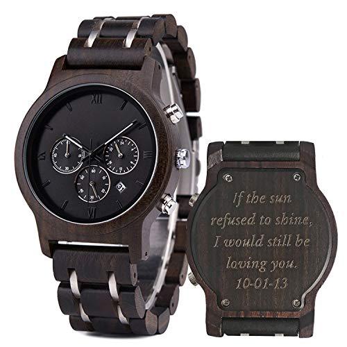 Holzuhr für Männer Herren Uhren Persönliche Armbanduhr Holz mit Gravur Ebenholzuhr mit Kalenderfenster Geschenk für Ehemann, 45mm