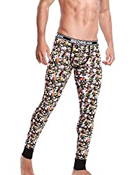 long underwear with flower pattern black