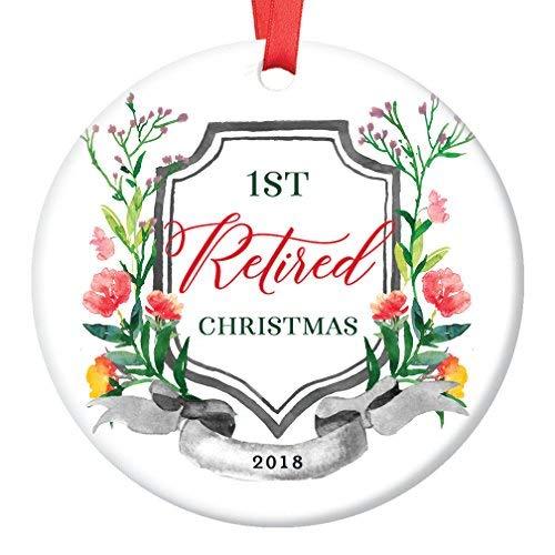 qidushop 2018 Christmas Tree Ornament 1st First Holiday Season Job Retirement Retired From Work Ceramic Collectible Keepsake Man Woman Retiring Party Present Flat Porcelain