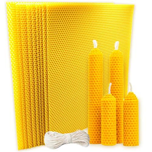 Paquete x 10 - Laminas de cera 30 x 35 cm c/u + mecha 3 metros (algodón). Cera de abejas 100% de España. Cera apicultura. DIY haga sus propias velas de cera de abeja.