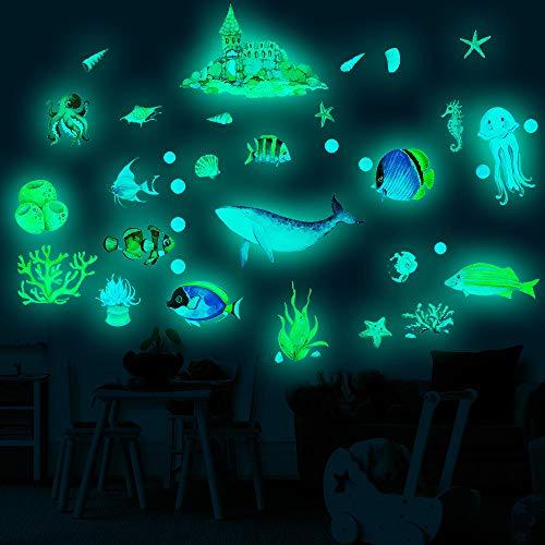 panthem 4pcs Leuchtsticker Wandtattoo Unterwasser Ozeanwelt Fisch Hai Fluoreszierend Wandsticker Wandaufkleber DIY Wohnzimmer Deko Für Kinderzimmer Baby Kinder Jungen Mädchen Schlafzimmer