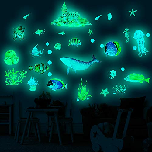 Conblomi 3D Ocean Fish Shark Wall Stickers, Glow in The Dark Bedroom Wall Decals Peel and Stick Removable Waterproof Wall Art Stickers Decor for Kids Nursery Bedroom Living Room