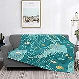 Manta de microfibra ultrasuave para decoración del hogar, manta de franela cálida antipilling para sofá, cama, campamento de 60 x 50 pulgadas, laberinto de jalea