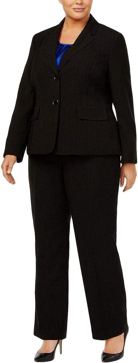 Le Suit Plus Size 3-Pc. Textured Pantsuit Black Coba Size 18W
