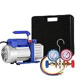 VEVOR Vacuum Pump Kit HVAC Single Stage AC Vacuum Pump 4CFM 1/3HP Air Vacuum Pump with 4 Valve A/C Manifold Gauge Set Refrigerant Air Conditioning (4CFM1/3HP 4Valve)