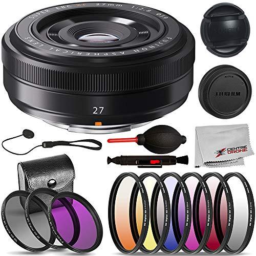 FujiFilm XF 27mm F/2.8 Lens (16389123) Basic Bundle: Includes – 3pcs Filter Kit (UV, CPL, HD FL-D), 6pcs Graduated Filter Kit, and More