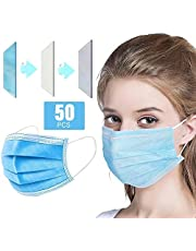 Generic Disposable Face Mask Adaptable Nose Bar 3-Layer Protective Face Mask Soft Breathable Non-woven Fabric Earloop Mouth Face Mask Protection against Dust Particles Pollution