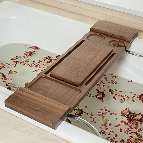 SYXLNNYYZM Badewannenablage Massivholz-Badewannenregal, Badewannenzubehör, Einweichhalterung, rundes Badewannenregal, doppeltes Badewannenregal im europäischen Stil