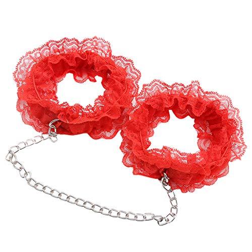 F Fityle Puños de Mano y Pierna de Encaje Floral Pulsera Tobillera con Cadena Metal Atractiva Accesorios de Disfraces Cosplay para Mujer - Muñeca, 41 cm