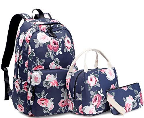 Mädchen Rucksack Set Blumen Schulrucksack Daypack Damen Teenager Reise Schultasche Laptop Backpack für Mädchen Schule 3 in 1 (Navy Blau)
