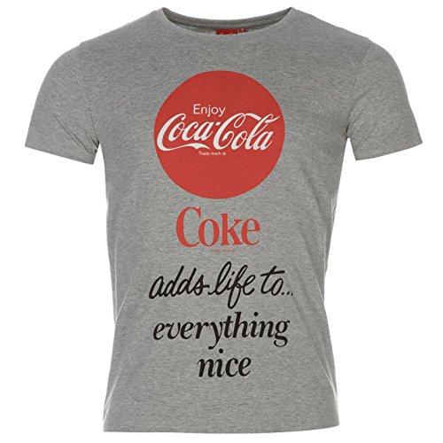 Coca-Cola Camiseta de manga corta para hombre gris Top Tee Shirt, gris, large