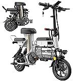 Bicicletas Eléctricas Plegables para Adultos Motor de 48V 350W Batería de Litio Extraíble de 25 a 160km de Alcance Asistencia de Pedal Tres Asientos Canasta de Gran Capacidad,Blanco,80km