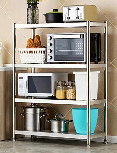 XingKunBMshop 4-Tier Stainless Steel Kitchen Microwave Stand Oven Shelf Spice Storage Bakers Rack Pantry,Kitchen storage rack (Size : 100cm)