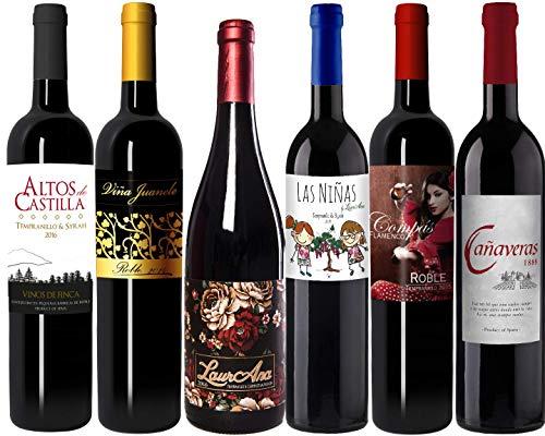 Bodegas Cañaveras Degustación Vinos Tintos - Lote de 6 botellas Vino de la Tierra de Castilla- Pack 6 x 750 ml