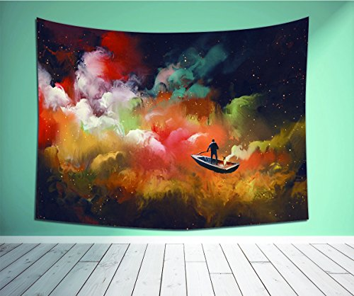 Avamam Tapestry Wall Art Man On A Boat In The Outer Space With Colorful Cloud Illustration-S Wall Hanging For Bedroom Living Room Dorm Size-80