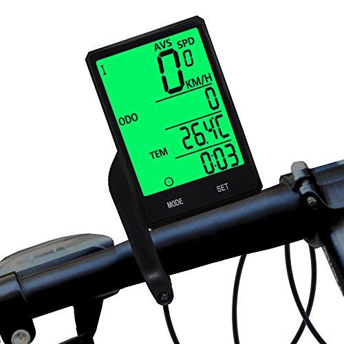 DSNOW Ordenador inalámbrico para bicicleta, cuentakilómetros y velocímetro, impermeable LCD automático de...