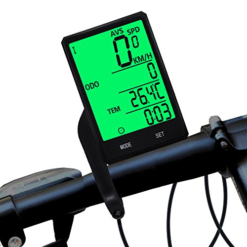 DSNOW Wireless Bike Computer, Bicycle Odometer and Speedometer, Waterproof LCD Automatic Wake-up Backlight Motion Sensor for Biking Cycling Accessories