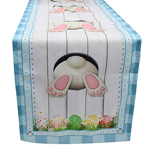Vedran Easter Table Runner Decoration, Cotton Linen Table Runners with Cute Bunny Tail and Colorful Eggs Pattern 71 x 13 Inch for Easter Holiday and Spring Home Party Decorations