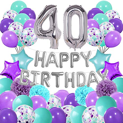 Turquoise Blue and Purple Birthday Decorations Set Mermaid Color Suit- Silver Happy Birthday Banner Latex and Confetti Balloons Paper Garland and Huge Number 40 Balloons for Girls 40th Birthday