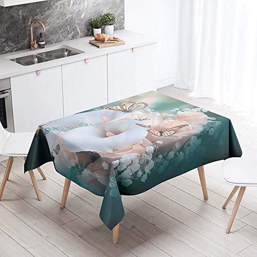 Mantel para Mesa Impermeable Antimanchas, Chickwing Floral 3D Patron Cocina Comedor Rectangular Resistente al Desgaste Lavable Mantel de Poliester (Rosa rosada,140x160cm)