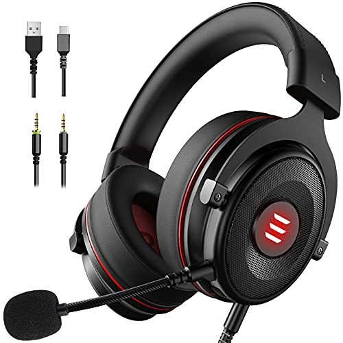 EKSA E900 PS4 Gaming Headset - PC USB Headset with 7.1 Surround Sound, Detachable Noise Cancelling Microphone&LED Light - Gaming Headphones Compatible with PS4/PS5, Xbox One, Nintendo Switch, Computer