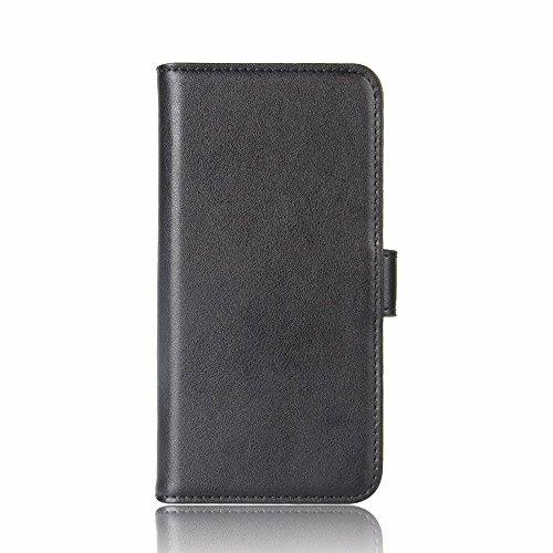 Capa flip para Sony Xperia XZ1 de couro de pele de carneiro genuíno com compartimentos para cartão (preta)
