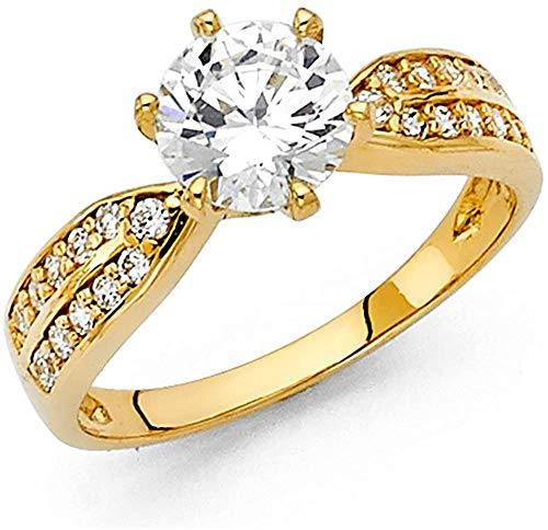 14K Solid Gold Engagement Ring 1.25 Carat Solitaire Simulated Diamond Band Wedding Ring Hallmarked Anniversary Ring for Women Gift for Her (Yellow Gold)