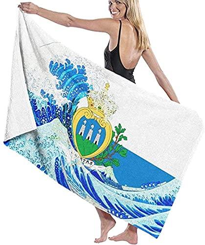 BAOYUAN0 Toalla de Playa Gigante Toalla de Playa Bandera de San Marino y Kanagawa Wave Manta de Playa Toalla Toalla de baño Absorbente Grande 80 * 130 cm Accesorios para Acampar Manta de Picnic