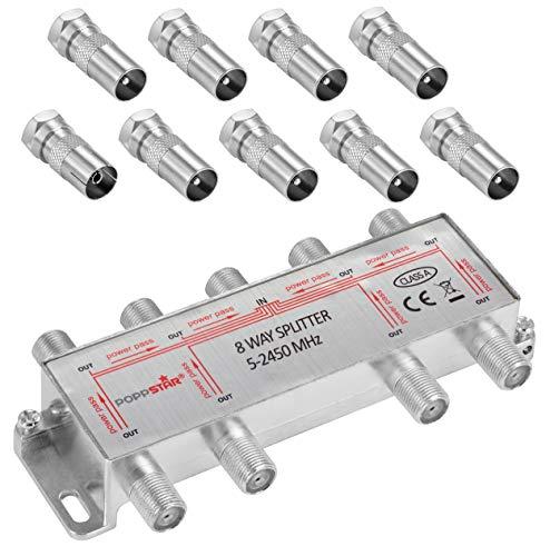 Poppstar Sat-Verteiler Antennenverteiler Splitter Umschalter 8-Fach inkl. IEC Stecker (analog/digital/BK/unicable/HD/4K tauglich) für TV,Antenne,Satellit,Kabel,Fernseher,Radio,LNB